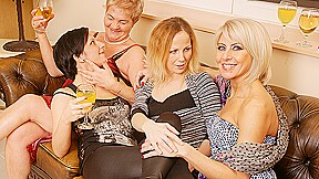 Four Old And Young Lesbians Have Fun On The Couch - MatureNL
