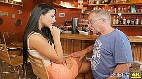 DADDY4K. Anna has old and young sex act in the bar of her boys dad