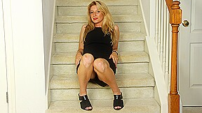 Naughty American Milf Playing With Her Pussy On The Stairs - MatureNL